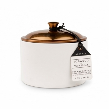 Tobacco & Vanilla 5oz Scented Candle - Ceramic & Copper Lid