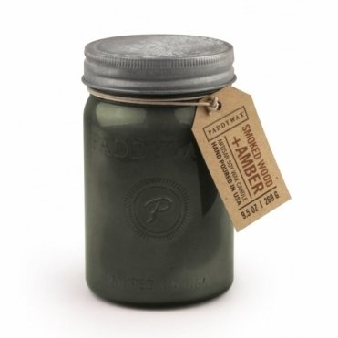 Grey Glass Jar Candle - Smoked Wood & Amber