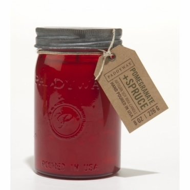Red Glass Jar Candle - Pomegranate & Spruce