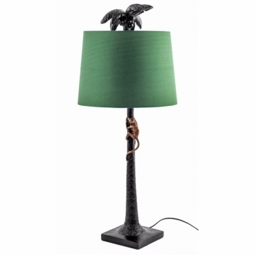Palm Tree & Monkey Table Lamp with Shade