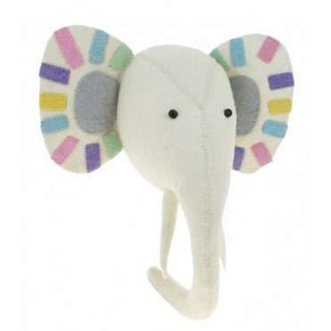 Pastel Safari Elephant Felt Animal Head - Wall Mounted