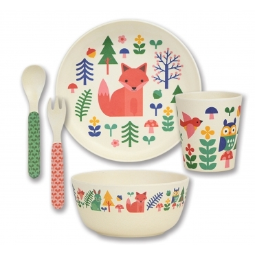 5 Piece Bamboo Dinnerware Set - Forest Friends