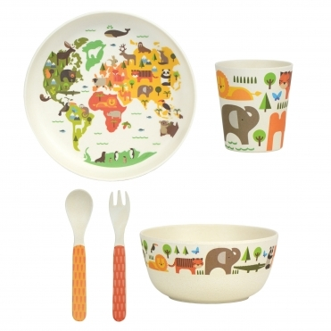 5 Piece Bamboo Dinnerware Set - Our World
