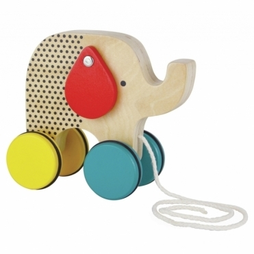 Jumping Jumbo Elephant Wooden Pull Toy