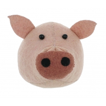 Pig Felt Animal Wall Head - Mini