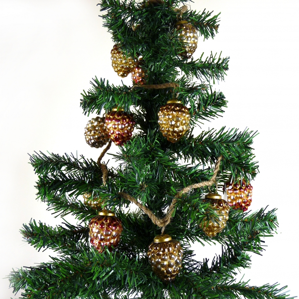 Christmas Baubles.Pinecone Christmas Baubles On String Gold Ruby