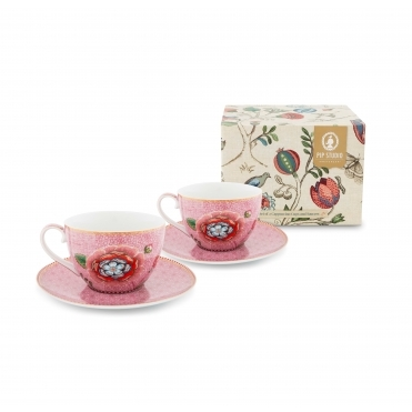 Pink Floral Cappuccino Cups & Saucers - Set Of 2