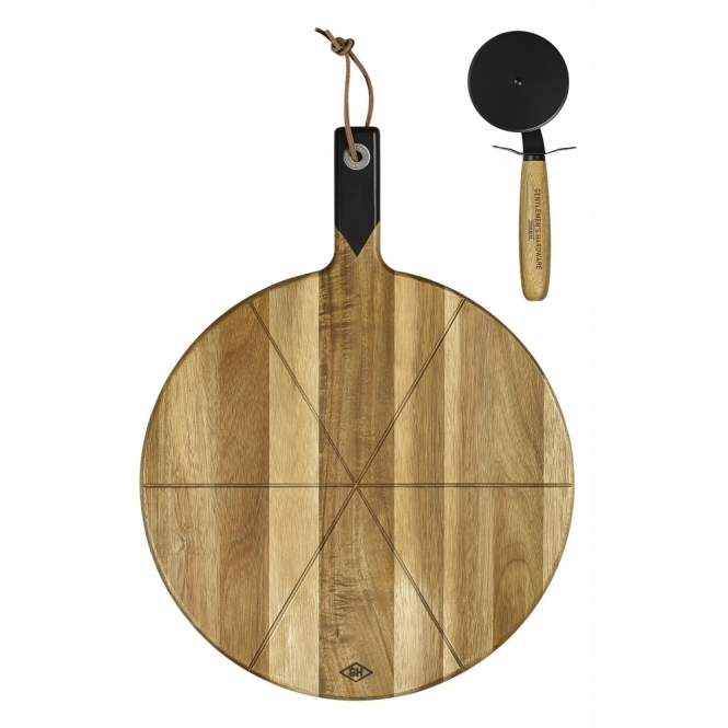 Pizza Cutter & Acacia Wood Serving Board