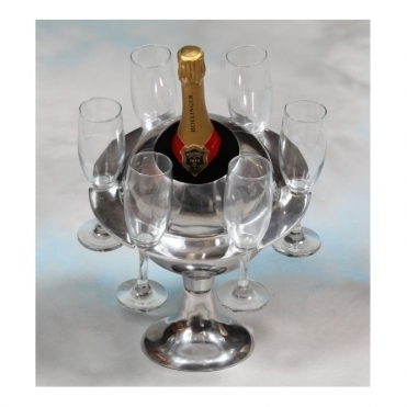 Polished Aluminium Saturn Ice Bucket / Champagne Cooler