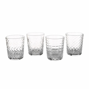 Clear Cuttings Tumbler Glasses - Set of 4