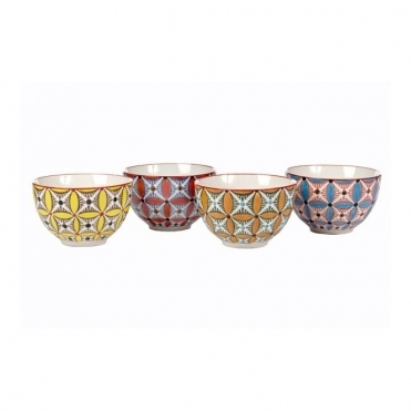 Colour Hippy Ceramic Bowls Set of 4
