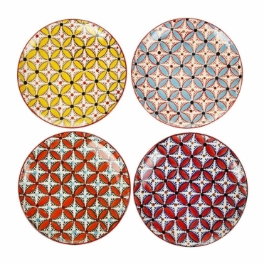 Colour Hippy Ceramic Plates Set of 4