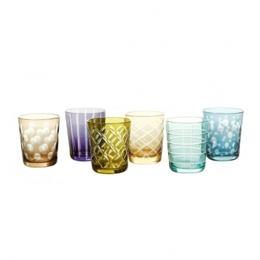 Mixed Cuttings Tumbler Set of 6 Glasses