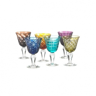 Mixed Cuttings Wine Glasses Set of 6