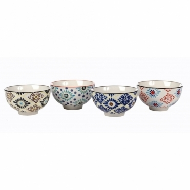 Mosaic Flower Porcelain Bowls - Set of 4
