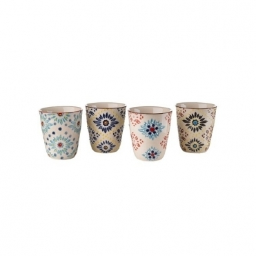 Mosaic Flower Porcelain Cups Set of 4