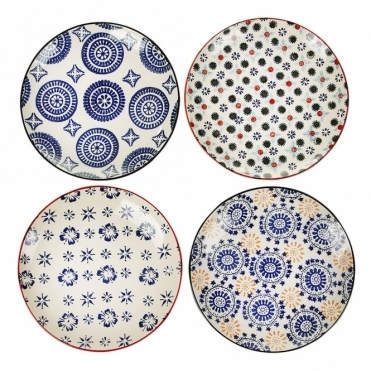 Mosaic Porcelain Plates Set of 4