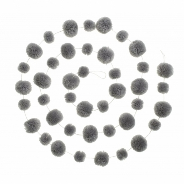 Pom Pom Garland Decoration - Cloud Grey