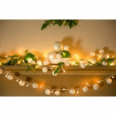 Pom Pom White Fairy LED String Lights