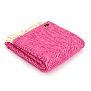 Pure New Wool Beehive Cerise Pink Knee Lap Blanket