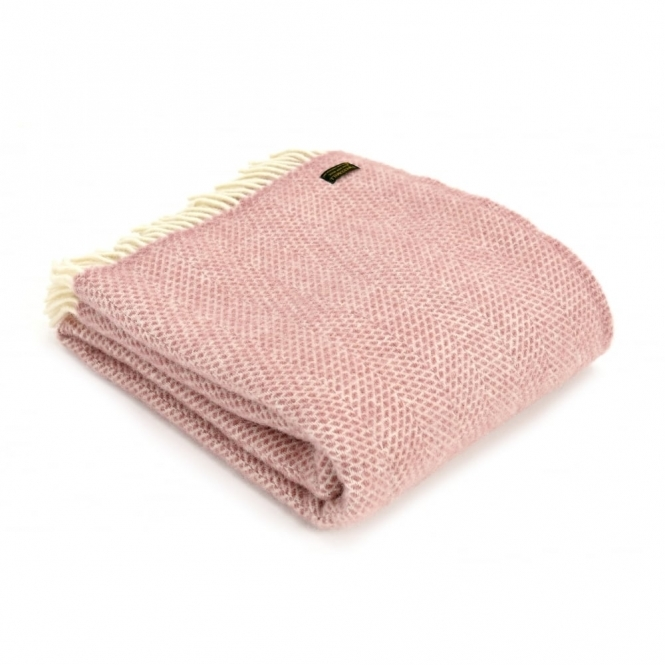 Pure New Wool Beehive Throw Blanket Dusky Pink