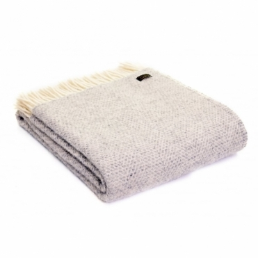 Pure New Wool Beehive Throw Blanket Grey