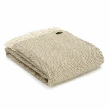 Pure New Wool Beehive Throw Blanket - Oatmeal
