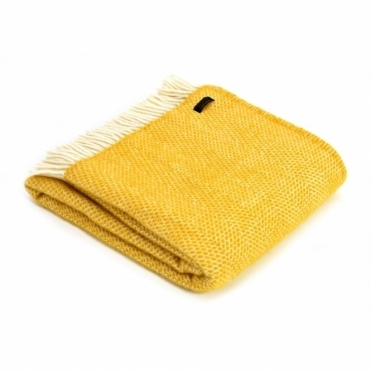 Pure New Wool Beehive Throw Blanket Yellow
