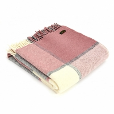 Pure New Wool Block Check Throw Blanket Charcoal & Dusky Pink
