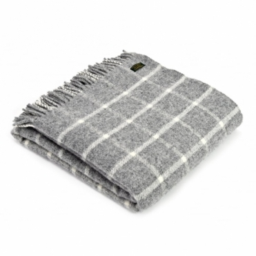 Pure New Wool Chequered Check Throw Blanket Grey