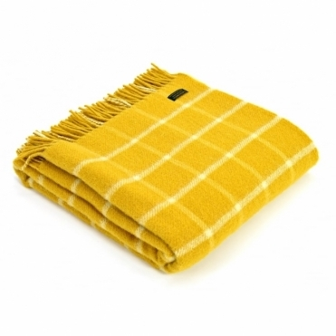 Pure New Wool Chequered Check Throw Blanket Yellow