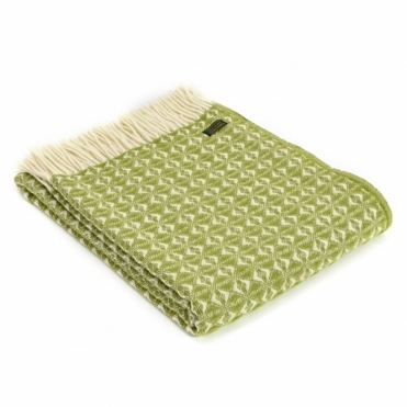 Pure New Wool Cob Weave Throw Blanket Cosy Green