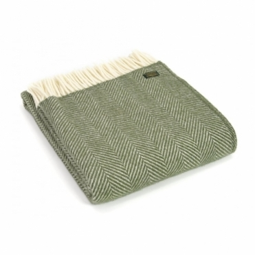 Pure New Wool Fishbone Throw Blanket Olive