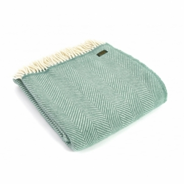 Pure New Wool Fishbone Throw Blanket Sea Green