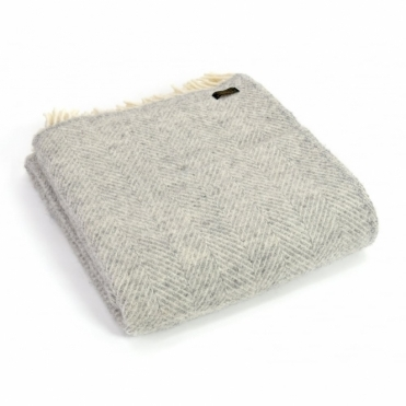 Pure New Wool Fishbone Throw Blanket Silver Grey