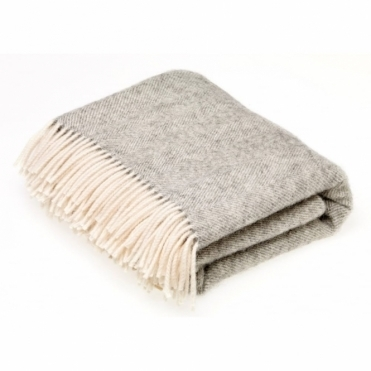 Pure New Wool Herringbone Throw Blanket Grey