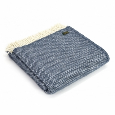 Pure New Wool Illusion Throw Blanket Blue Slate