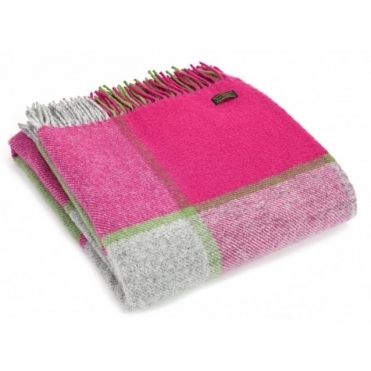 Pure New Wool Knee Lap Blanket - Block Check Pink, Grey & Green