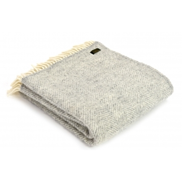 Pure New Wool Knee Lap Blanket - Fishbone Silver Grey