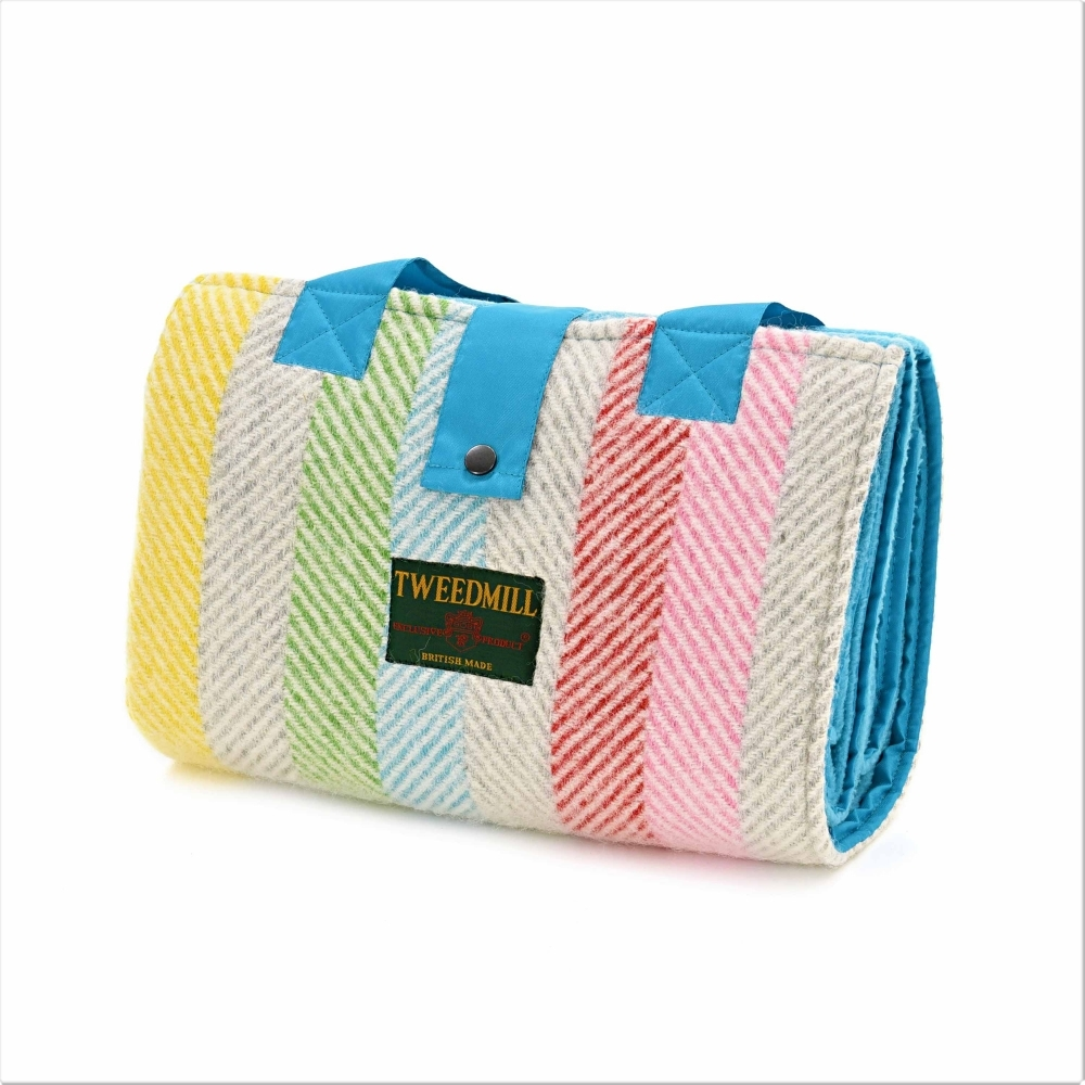 Pure New Wool Picnic Blanket Leisure Rug With Waterproof Backing Turquoise Rainbow Stripe
