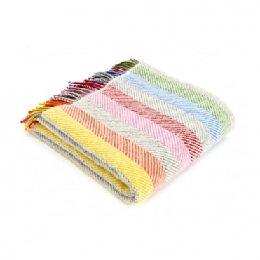 Pure New Wool Rainbow Stripe Throw Blanket Grey