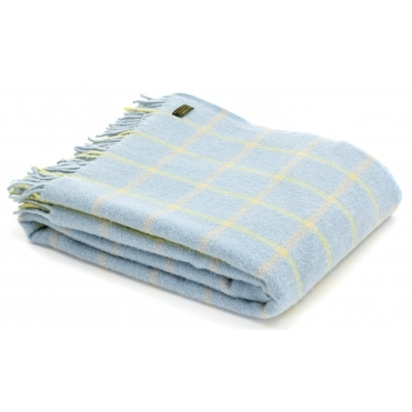 Pure New Wool Throw Blanket - Chequered Check Duck Egg