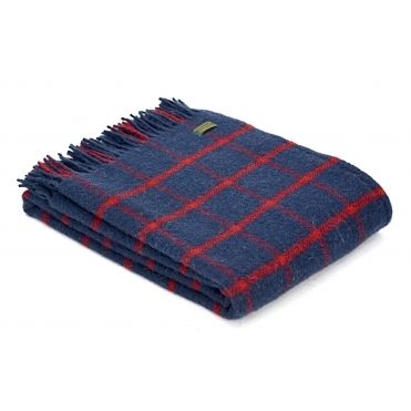 Pure New Wool Throw Blanket - Chequered Check Navy & Red