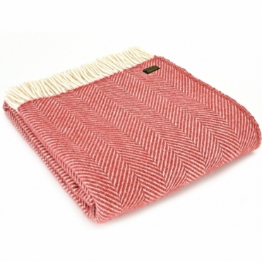 Pure New Wool Throw Blanket - Fishbone Cranberry