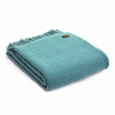 Pure New Wool Wafer Plain Throw Blanket - Jade