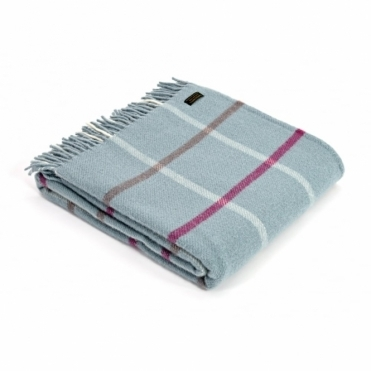 Pure New Wool Windowpane Throw Blanket Duck Egg Blue