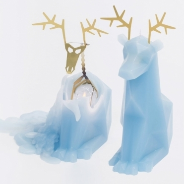 Dyri Reindeer Candle with Skeleton - Light Blue