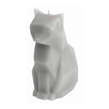 Kisa Cat Candle with Skeleton - Grey