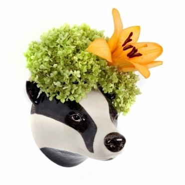 Badger Head Wall Vase