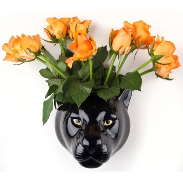 Panther Head Wall Vase